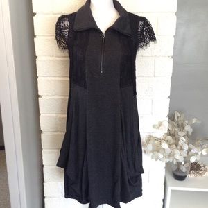 Kensie Quarter Zip Draped Jersey Knit Lace Dress